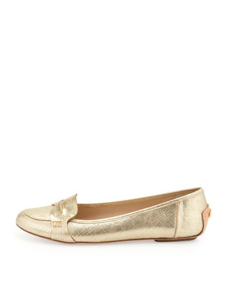 natalia saffiano metallic penny loafer, platino