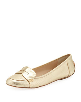 kate spade new york natalia saffiano metallic penny loafer, platino