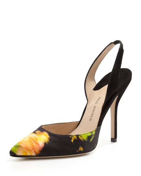 Passion Flower-Print Slingback Pump, Black/Marigold