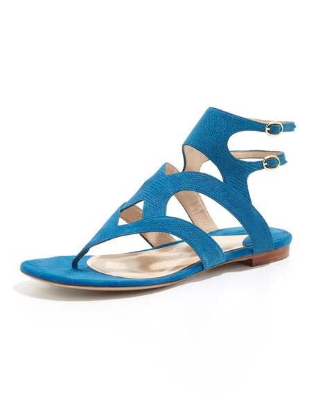 Sahara Double-Strap Thong Sandal, Royal Blue