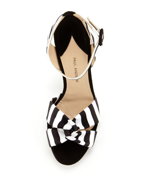 Wisteria Striped Ankle-Wrap Sandal, Black/White