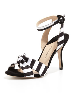 Paul Andrew Wisteria Striped Ankle-Wrap Sandal, Black/White