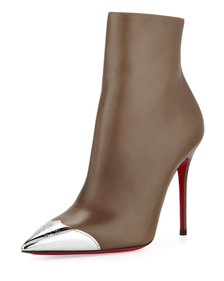 Calamijane Red Sole Ankle Boot with Metallic Wing-Tip