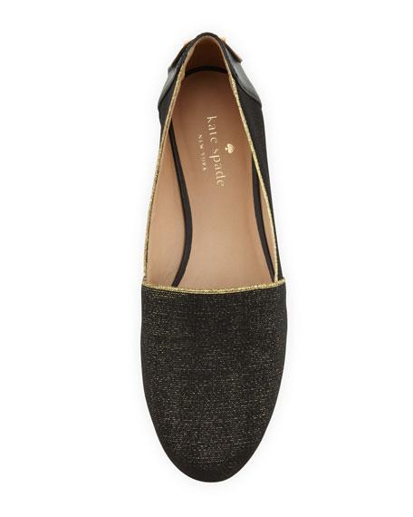 nella sparkle stretch loafer, black/gold