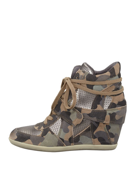 Bowie Camouflage-Print Wedge