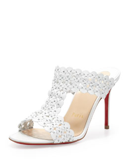 Christian Louboutin Calamazone Woven Red-Sole Slide Sandal, White