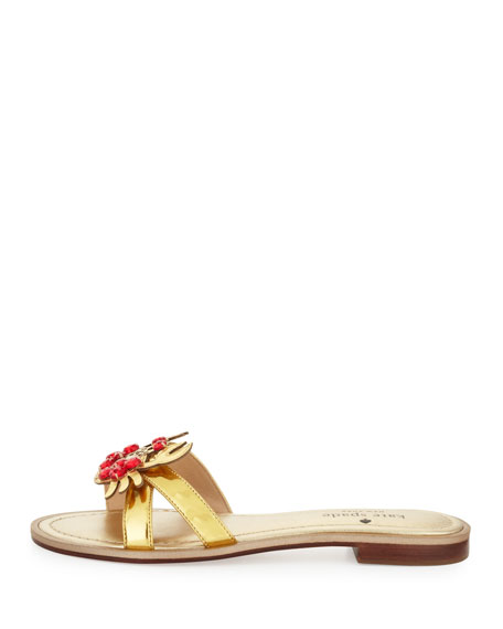sebastian metallic crab-ornament sandal, gold