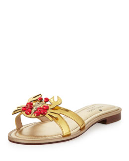 kate spade new york sebastian metallic crab-ornament sandal, gold