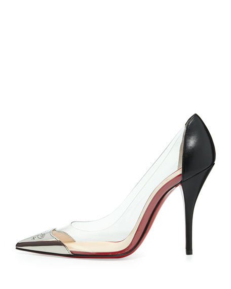 Djalouzi PVC Cap-Toe Red Sole Pump, Black