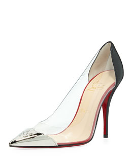 Christian Louboutin Djalouzi PVC Cap-Toe Red Sole Pump, Black