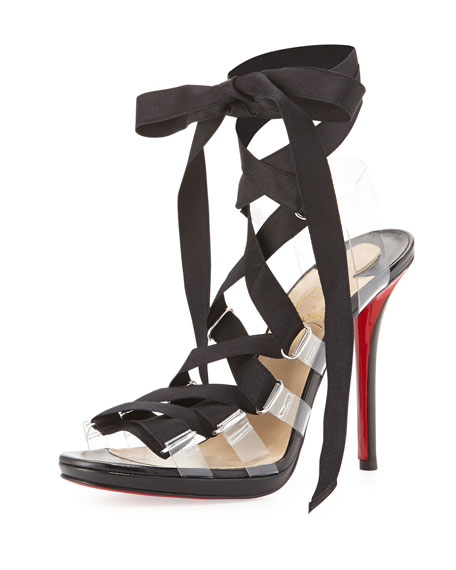 Nymphette Satin Lace-Up Red Sole Sandal, Black