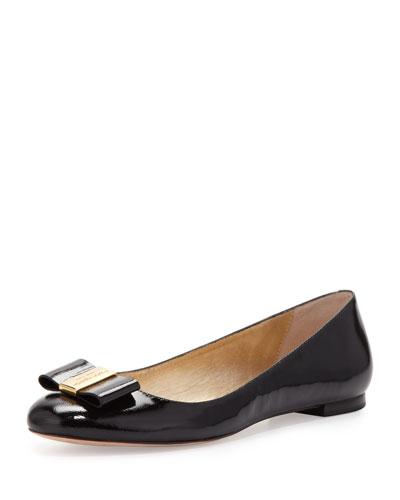 kate spade new york thyme patent bow flat, black