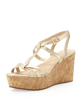 kate spade new york tropez metallic cork platform wedge