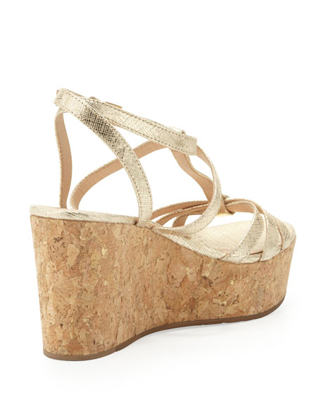 tropez metallic cork platform wedge