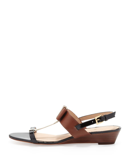 vinny colorblock bow sandal, neutral snake print