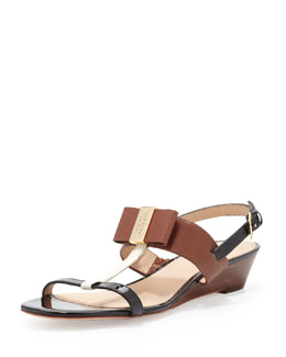 kate spade new york vinny colorblock bow sandal, neutral snake print