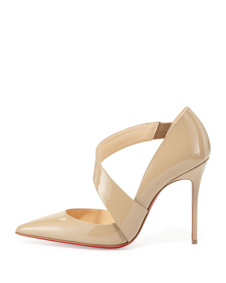 Ograde Cross-Strap Red-Sole Pump, Beige