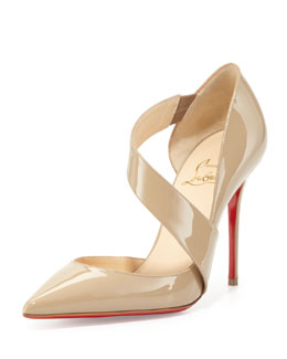 Christian Louboutin Ograde Cross-Strap Red-Sole Pump, Beige