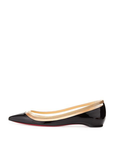 Paulina Pointed-Toe Ballet Flat, Black/Beige