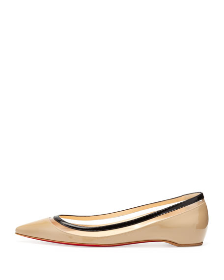 Paulina Pointed-Toe Ballet Flat, Beige and Black