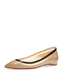 Christian Louboutin Paulina Pointed-Toe Ballet Flat, Beige and Black