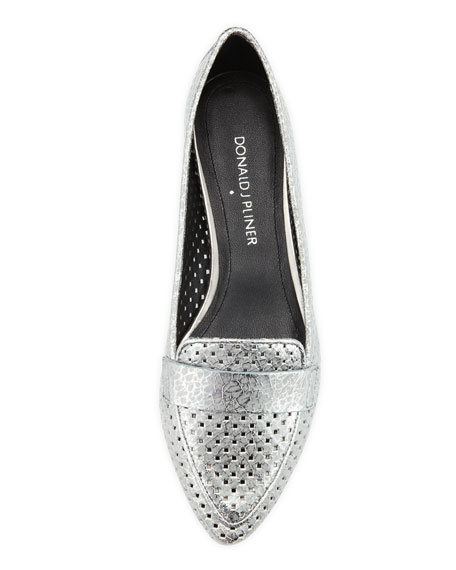 Perforated Metallic Leather Loafer, Pewter
