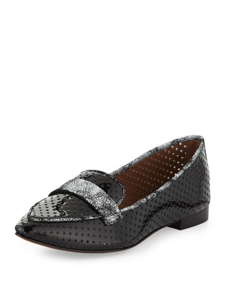 Ava Perforated Patent Loafer, Black