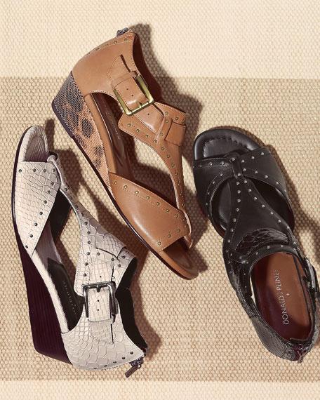 Dama Snake-Print Leather Wedge Sandal, Ivory