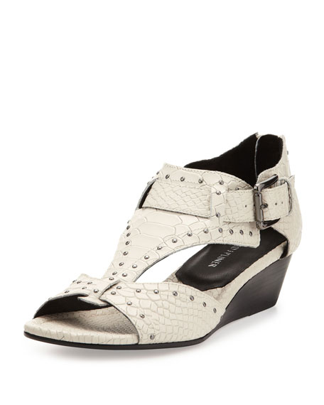 Dama Snake-Print Leather Wedge Sandal, Ivory