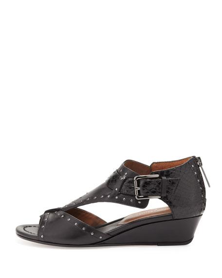 Dama Studded Leather Wedge Sandal, Black