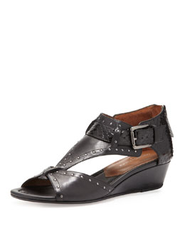 Donald J Pliner Dama Studded Leather Wedge Sandal, Black