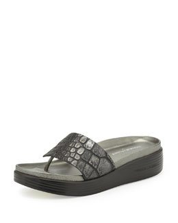 Donald J Pliner Fifi Croc-Embossed Thong Slide, Black