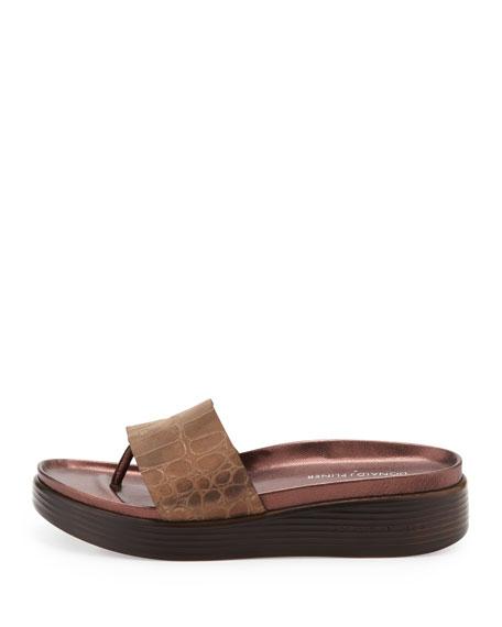Fifi Croc-Embossed Thong Slide, Bronze
