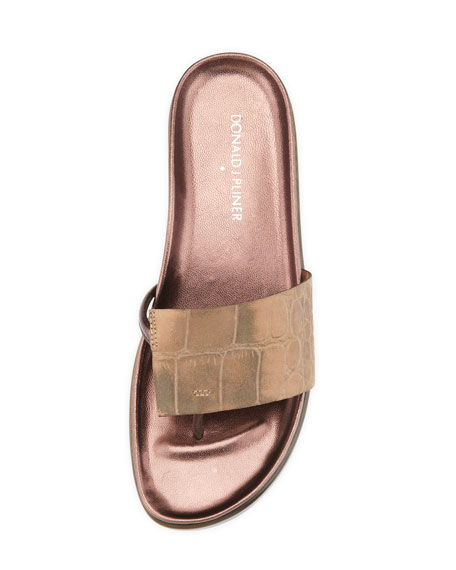 Fifi Croc-Embossed Thong Slide, Bronze