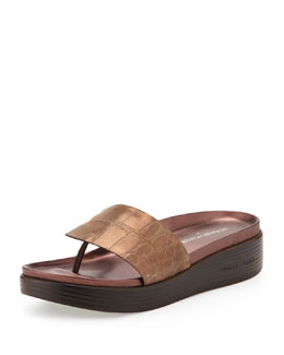 Donald J Pliner Fifi Croc-Embossed Thong Slide, Bronze