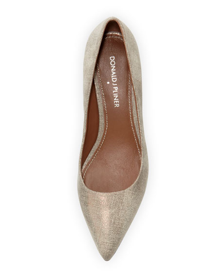 Franc Metallic Kitten-Heel Pump
