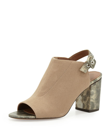 Gillie Stretch Peep-Toe Slide, Beige/Sandal