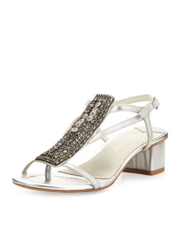 Donald J Pliner Macha Beaded Metallic Sandal, Silver
