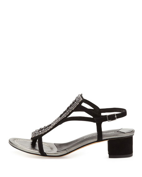 Macha Beaded Suede Sandal, Black