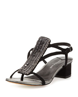 Donald J Pliner Macha Beaded Suede Sandal, Black