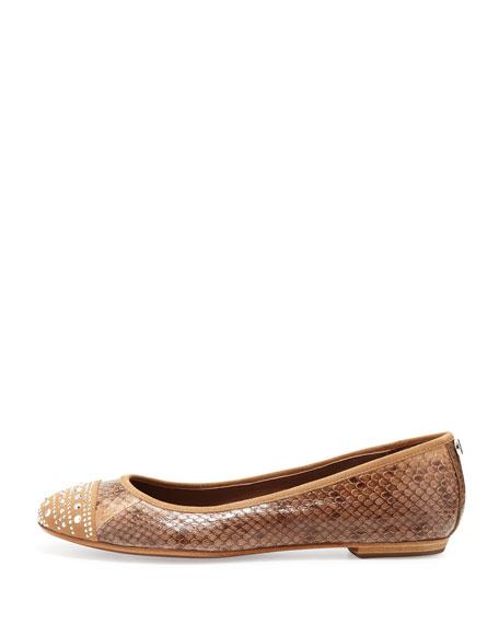 Snakeskin Cap-Toe Ballet Flat, Natural
