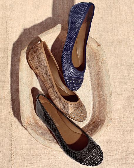Snakeskin Cap-Toe Ballet Flat, Indigo