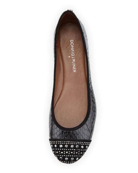 Great Snakeskin Cap-Toe Ballet Flat, Black