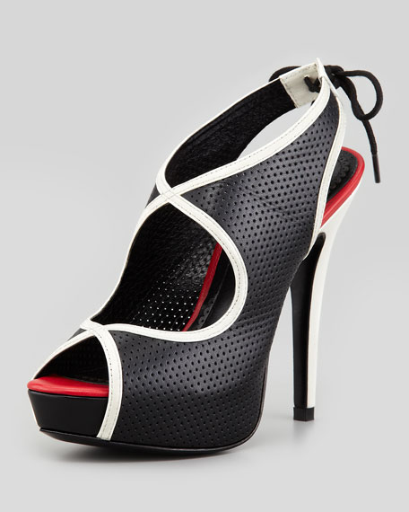 Audrey Perforated Platform Slingback Sandal