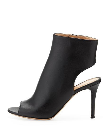 Peep-Toe Open-Heel Leather Bootie, Black