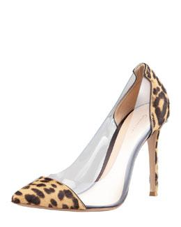 Gianvito Rossi Leopard-Print Calf Hair-PVC Pump