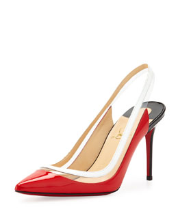 Christian Louboutin Paulina Point-Toe Patent Slingback, Corazon