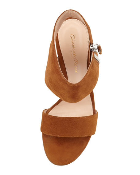 Ankle-Wrap Suede Sandal, Medium Brown