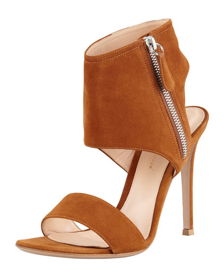 Ankle-Wrap Suede Sandal, Medium Brown