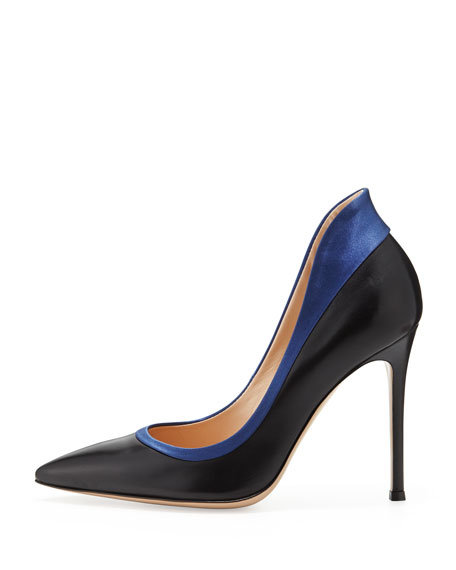 Raised-Back Satin-Collar Calfskin Pump, Black/Navy